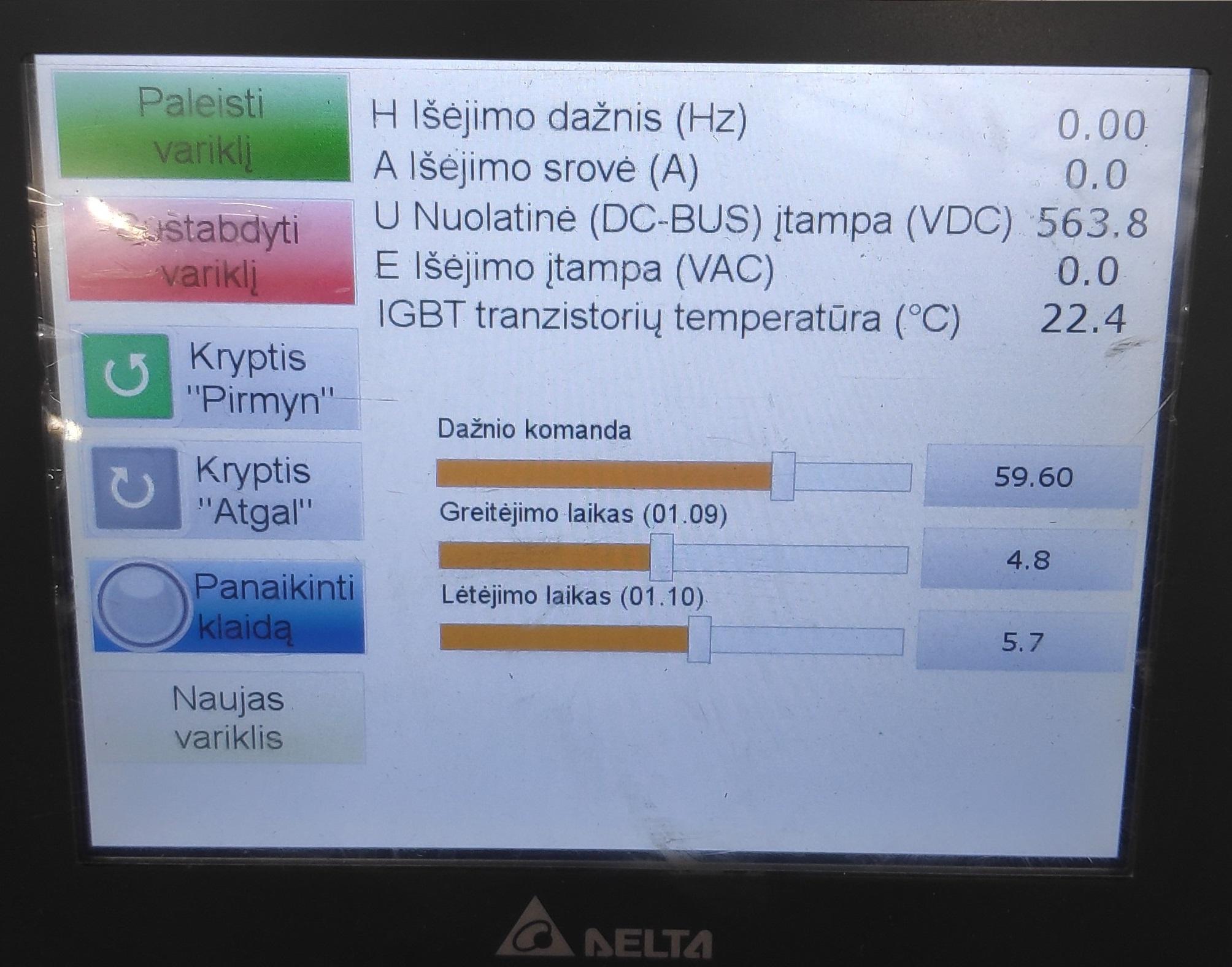 varikliu bandymo stendu HMI sasaja