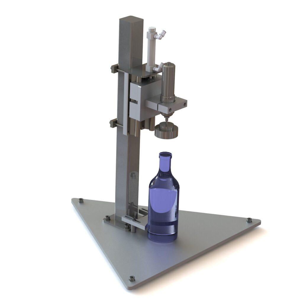 Butelių užsukimo įrenginys
