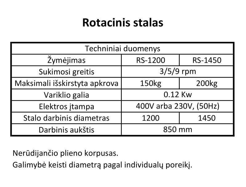 rotacinio stalo rs-1200 specifikacija