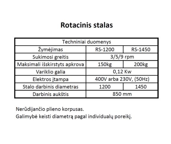 rotacinio stalo rs-1200 specifikacijos